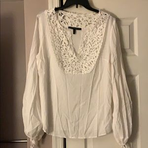 WHBM White Cotton and Lace Blouse Size 12